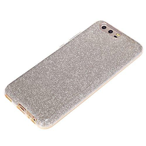 Carcasa Huawei P10, Huawei P10 Funda Silicona, EUWLY Alta Calidad Estilo de Moda de Lujo Bling Brillante Glitter Silicona Funda para Huawei P10 Trasero Cubierta Ultra Delgado Flexible Goma Suave Silic Glitter Dorado