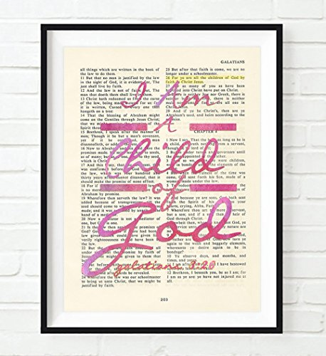 I Am a Child of God. - Galatians 3:26 PINK Christian ART PRINT, UNFRAMED,Vintage Bible verse scripture wall decor poster, Inspirational gift, 8x10 (Bible Verse For Graduation)