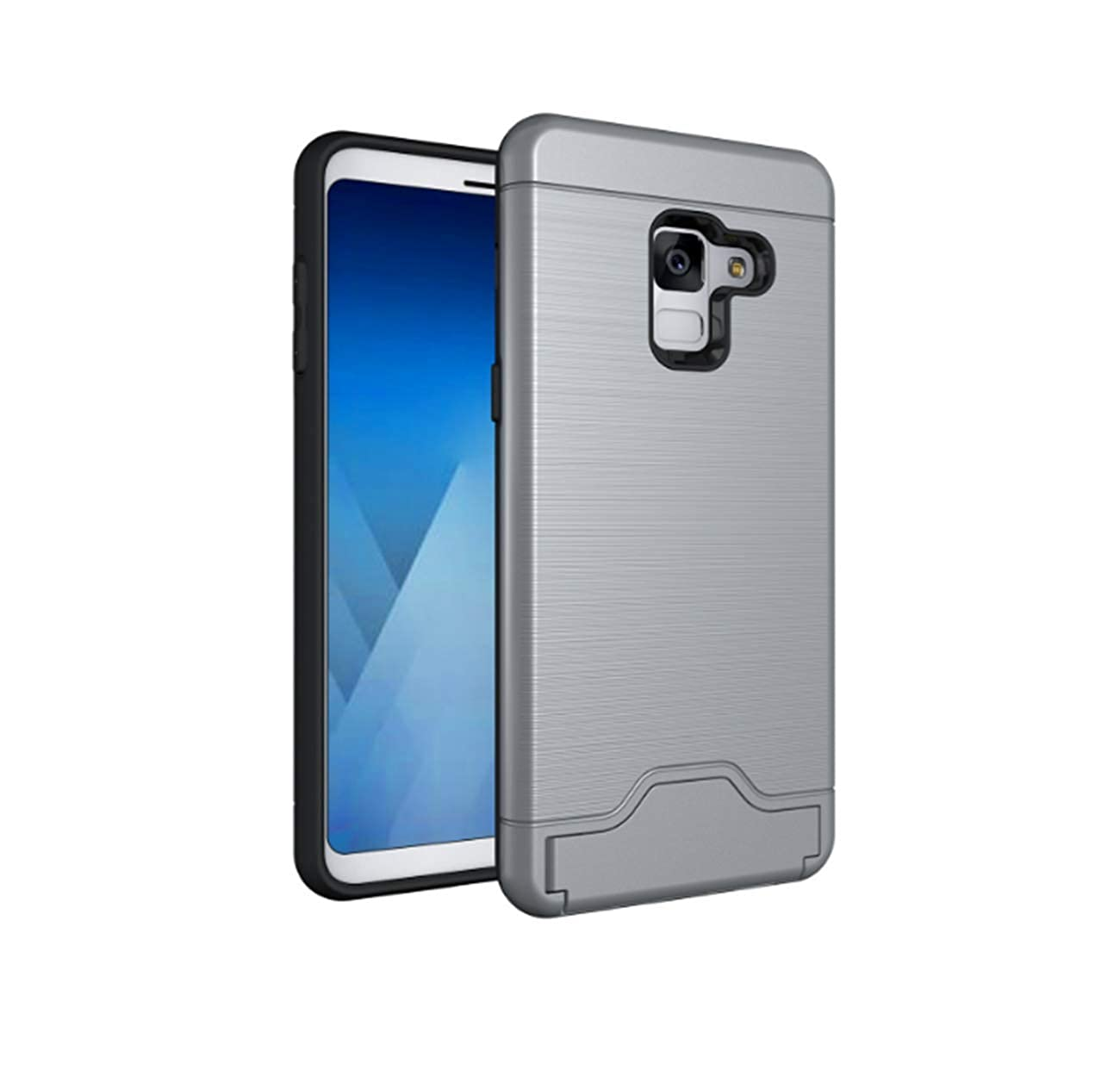 7Pite Lifeproof Case Samsung Galaxy A8 2018, Slim Galaxy A8 Plus Dual Layer Wallet Case Card Holder Shell Kickstand Cover