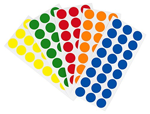 - ChromaLabel Removable Color-Code Dot Label Kit | 5 Assorted Standard Colors | 1200/Pack (1/2 inch)
