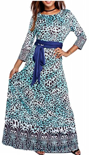 Long Leopard Dress 3 Green Maxi Womens Jaycargogo Party Sleeve Neck 4 Printed Crew gFwy1SK