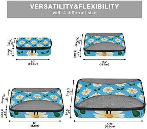 白い花青葉荷物パッキングキューブオーガナイザートイレタリーランドリーストレージバッグポーチパックキューブ4さまざまなサイズセットトラベルキッズレディース