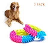 Geekercity Pets Toy 3.9'' Play Strong Tough Virtually Indestructible Colorful Rubber Bite Dog Teething Chew Toy Three Color Ring | Suitable for Small Medium Large Dogs Breeds