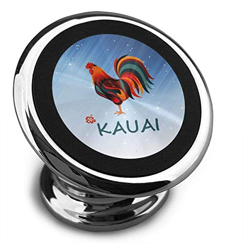 Kauai Wild Rooster Universal Magnetic Car Mount - for Any Phone, GPS Or Light Tablet | Stylish Black Chrome One-Hand & One-Sec Dash Holder, 100 to Safeness & Comfort