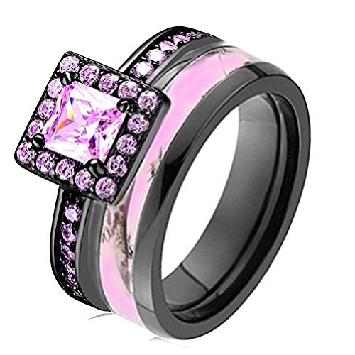 Pink Women`s Halo Black Titanium Camo and Sterling Silver Princess Engagement Wedding Rings Set (9) (Silver Camo)