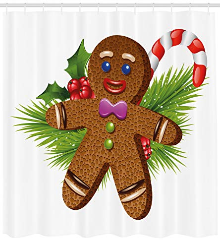 Ambesonne Gingerbread Man Shower Curtain, Cute Tasty Pastry on Coniferous Branches Candy Cane and Holly Berry, Fabric Bathroom Decor Set with Hooks, 70 inches, Brown Green Red