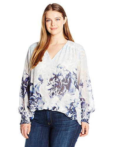 Twilight Womens V-neck - Calvin Klein Women's Plus Size Printed V-Neck Peasant Top, Twilight/Light Gray, 1X