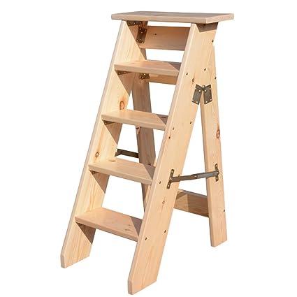 Pleasant Amazon Com 5 Step Folding Step Stool Heavy Duty Natural Machost Co Dining Chair Design Ideas Machostcouk