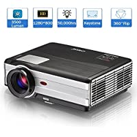 Home Theater Cinema Video Projector - 3500 Lumens LED LCD WXGA Multimedia Movie Gaming HD 1080P 720P for DVD, Blu Ray, Android Smartphone, PC, TV, Xbox, Wii, PS3, PS4, Including USB HDMI Cable