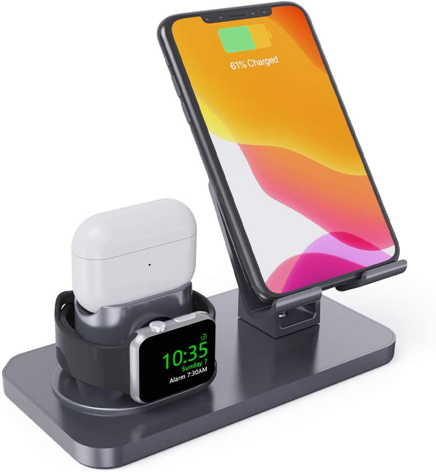 Charging Stand for Apple Watch Series 5/4/3/2/1, 3 in 1 Stand Dock Station Holder for Airpods 2/1/Pro, Rotation Desktop Stand Charger for iPhone 11 Pro Max/Xs Max/Xs/Xr/X/8/8Plus iPad Tablet (Gray)