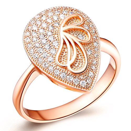 [YLR Gold Plated Jewelry Peach Heart Mosaic Stone Cubic Zirconia Girls Women Ring] (Mosaic Heart Ring)