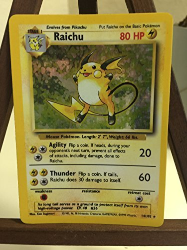 (Pokemon Base Set Holofoil Card #14/102 Raichu)