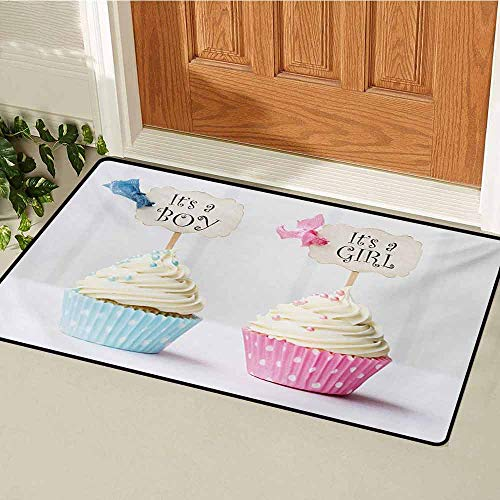 Gender Reveal Universal Door mat Boy and Girl with Cupcakes Yummy Chocolate Celebration Theme Door mat Floor Decoration W29.5 x L39.4 Inch Pale Blue and Pink Cream]()
