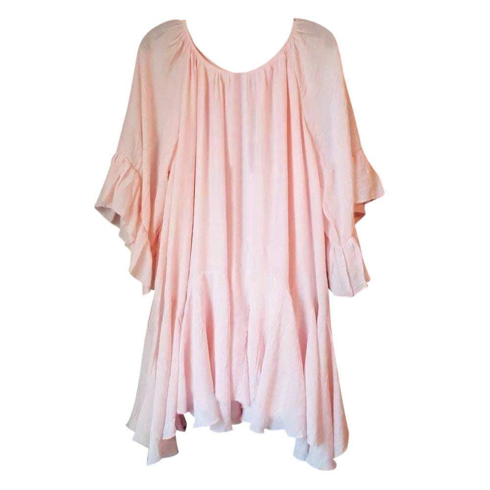 Blusa para Mujer Elegante Moda T/única Mode Chic Mujeres Vintage Boho Tops De Verano Cuello Redondo Manga Corta Sueltas Casual Color S/ólido Camisetas Camisas Tops Mujeres