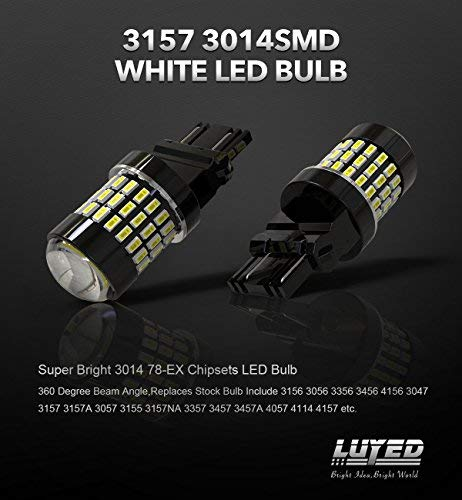 LUYED 2 X 900 Lumens Super Bright 3014 78-EX Chipsets 3056 3156 3057 3157 LED Bulbs with Projector for Tail Lights,Xenon White 4333004180