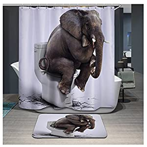 Amazon Com Funny Elephant Sitting On The Toilet Design