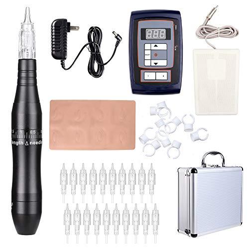 Solong Tattoo Pen Kit Hybrid Rotary Tattoo Machine Permanent Makeup Pen Kit Power Supply 20 Needle Cartridges EK201A (Black) from Solong Tattoo