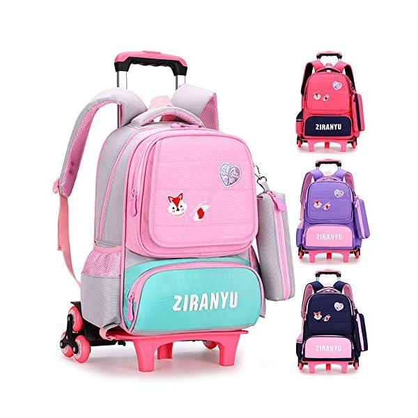 Zaino trolley, zaino trolley leggero zaino scuola ragazza in nylon scuola elementare trolley scuola media per bambini… 2 spesavip