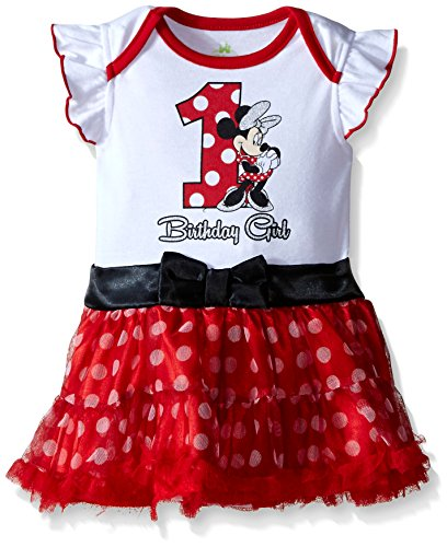 Disney Baby-Girls Infant Minnie Mouse First Birthday Dress, Multi, 12-18 Months -