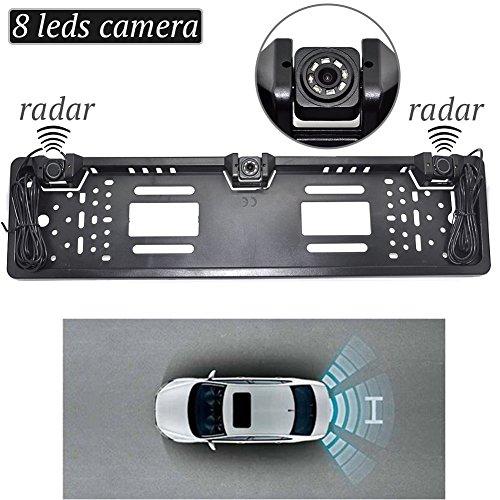 Auto Wayfeng WF EU European Car License CCD Rear View Camera Plate Frame Parking Camera Two Reversing Radar Parking Sensors