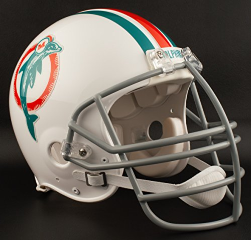 (Riddell Miami Dolphins 1973-1979 NFL Authentic Throwback Football Helmet w/NJOP Facemask)