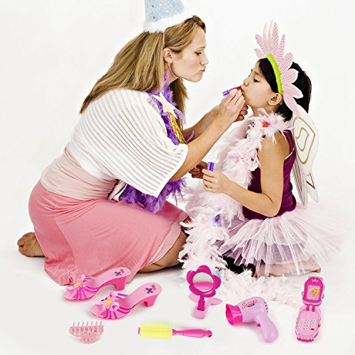 Liberty Imports Stylish Little Princess Dress Up | Beauty Vanity Realistic Pretend Play Set | Ideal Imaginative Pink Fashion Kit for Girls with Hair Dryer, Shoes and Accessories