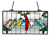 Chloe Lighting Aves Tiffany-Glass Gathering Birds Window Panel 24.5 x 12.5