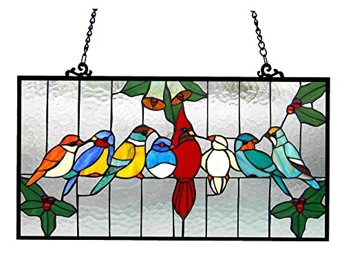 Chloe Lighting Aves Tiffany-Glass Gathering Birds Window Panel 24.5 x 12.5 by Chloe Lighting