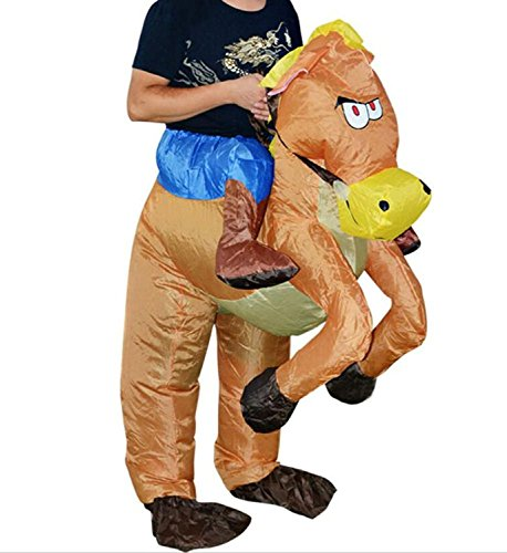 Horse And Rider Fancy Dress Costume (Inflatable Rider Costume Fancy Dress Funny Horse Cowboy Funny Suit Mount For Kids Adult (Child, Horse))