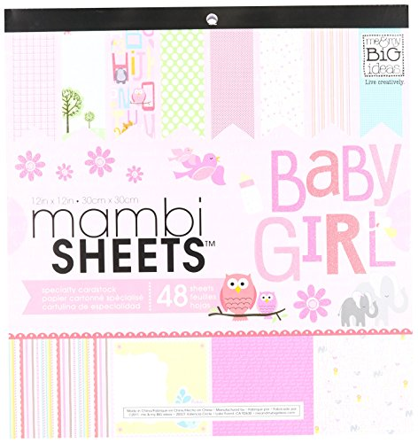 Me & My Big Ideas MAMBI Sheets Specialty Cardstock, 12 by12-Inch, 48 Per Sheet, Baby Girl (Specialty Cardstock Pad)