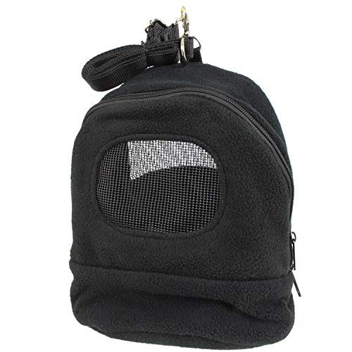 Exotic Nutrition Kucci Carry Pouch (Black XL) - Fleece Carrier - for Sugar Gliders, Marmosets, Hamsters, Degus, Squirrels, Hedgehogs, Other Small Animals