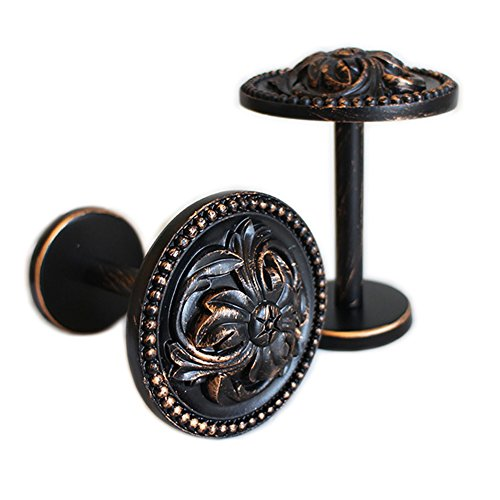 YYC 2Pcs Retro Flower Medallion Drapery Holdback Curtian Wall Hook Curtain Rod (Aged Black) - Medallion Scarf Holders