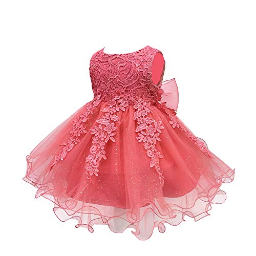 LZH Baby Girls Birthday Christening Dress Baptism Wedding Party Flower Dress (5801-WaterM)elon,12M)