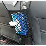 9 MOON Car Armrests Seats Purse Storage Car Net,Universal Car Seat Storage Mesh/Organizer - Mesh Cargo Net Hook Pouch Holder for Bag Luggage Pets Children Kids Disturb Stopper