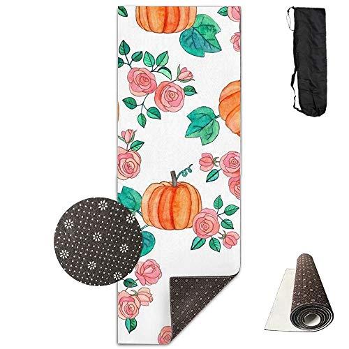 Pumpkins and Roses in Watercolor,Yoga Towel Exercise Mat Non-Slip High Density Waterproof Yoga Mats Fitness