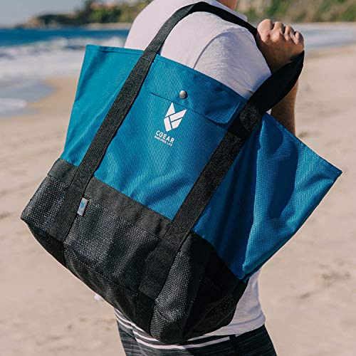 CGEAR Sand-Free Tote Bag II – Patented Mesh Technology Meets Waterproof Nylon Upper For The Ultimate Sandless Beach Bag – Features Large, Lightweight Open Top Design, Two Pockets, and Shoulder Straps