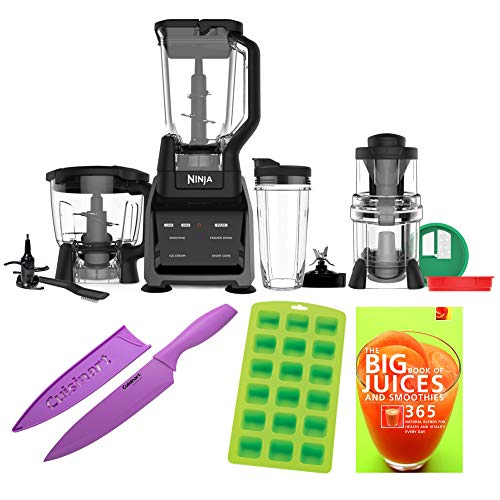 Ninja CT682SP High Performance Blender/Food Processor Kitchen System Includes Ice Cube Tray, Knife and Smoothie Book Bundle (Renewed)