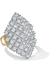 Royal Palm Jewelry 507038 2.58 TCW Round Cubic Zirconia 14k Gold-Plated Marquise-Shaped Cocktail Ring - Size 8