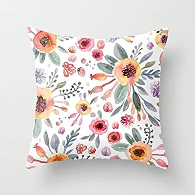 SPXUBZ Beautiful Flower Watercolor Gardenia Pillow Cover Decorative Home Decor Nice Gift Square Indoor/Outdoor Pillowcase Size: 18x18 Inch(Two Sides): Home & Kitchen