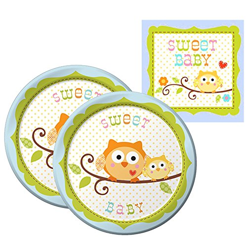 Happi Tree Boy Party Supplies Pack for 16 Guests: 16 Dessert Plates and 16 Beverage