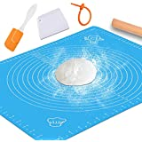 Silicone Baking Mat with Measurements – Heat Resistant, BPA Free, Non-Stick Pastry Mat for Rolling Dough – Easy to Clean Silicone Mat - Does Not Discolor-Blue