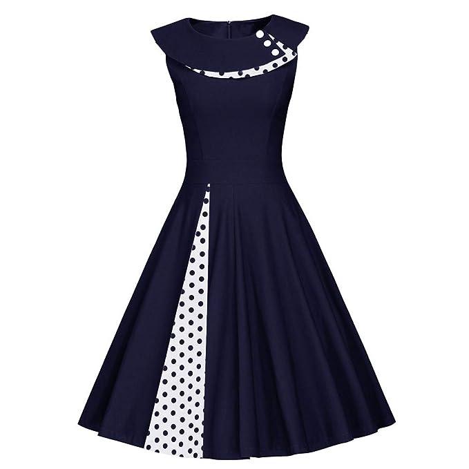 YEZIJIANG Damen Vintage Kleid 50er Jahre Ärmellos Rockabilly