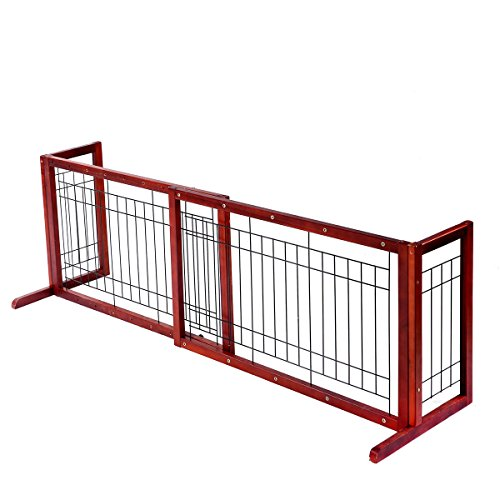 Tobbi Large Wooden Indoor Pet Dogs Fence 71-Inch Safety Gate Freestanding for Small Dogs Animals Brown by Tobbi (Image #2)