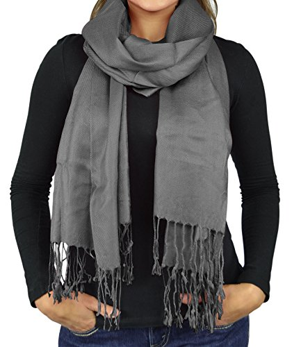 Women Scarves Faux Pashmina Silk Shawl Wrap Head Cover Lightweight - Charcoal