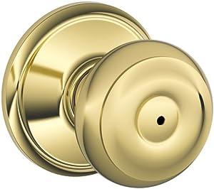 Schlage F40VGEO605 Georgian Privacy Knob, Bright Brass