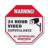 Video Surveillance Sign with Rust Fee Aluminum, 12x12x0.2 inch UV Printed for fake camera and indoor outdoor wireless camera system home security signs