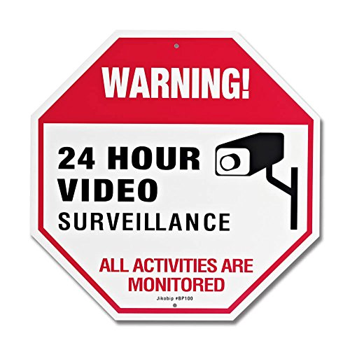 Video Surveillance Sign with Rust Fee 20 Mil Thick Aluminum, 12x12 Inch UV Printed for Fake Camera and Indoor Outdoor Wireless Camera System Home Security Signs
