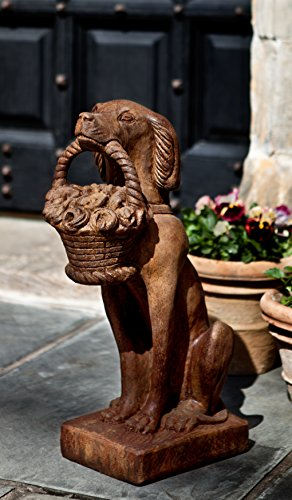 Campania International A-060-PV Vintage Dog with Basket Statue, Pietra Vecchia Finish