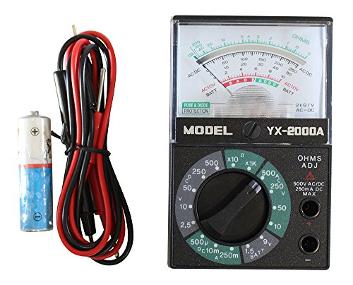 Pocket Battery Tester - ToolUSA Pocket-size 5-function 16-range Analog Multimeter With 1.5v/9v Battery Tester - Yx-2000a: TM-70500