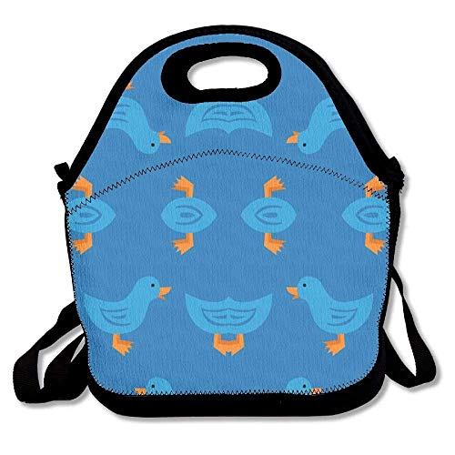 Duck Waddle (Blue) Giftwrap (5415) Insulated Lunch Box Tote Bag With Shoulder Strap By Bouble, Perfect For Women, Men & Kids